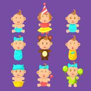 Babies An Toddles Sticker Set Stock Illustration