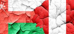 Oman flag with Peru flag on a grunge cracked wall - stock illustration