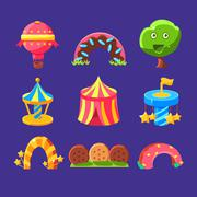 Amusement Park Elements Made Of Sweets - stock illustration