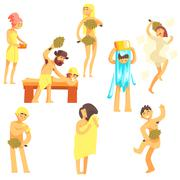 People At The Bathhouse Set Stock Illustration