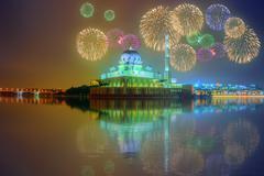 Beautiful fireworks under Putrajaya Mosque, Kuala Lumpur Stock Photos