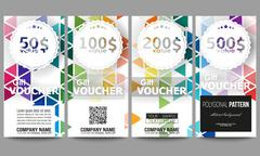 Set of gift voucher templates. Abstract colorful business background, modern Stock Illustration
