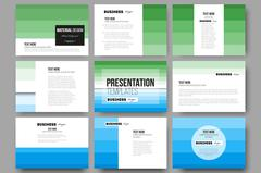 Set of 9 templates for presentation slides. Abstract colorful business - stock illustration