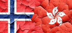Norway flag with Hong Kong flag on a grunge cracked wall Piirros