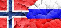 Norway flag with Russia flag on a grunge cracked wall Stock Illustration