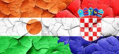 niger flag with Croatia flag on a grunge cracked wall - stock illustration