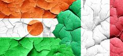 niger flag with Italy flag on a grunge cracked wall - stock illustration