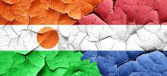 niger flag with Netherlands flag on a grunge cracked wall - stock illustration