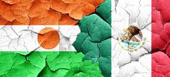 niger flag with Mexico flag on a grunge cracked wall - stock illustration