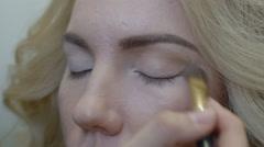 Make-up artist doing make-up model Stock Footage