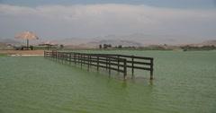 Turquoise lagoon in PERU in desert Stock Footage