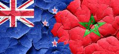 New zealand flag with Morocco flag on a grunge cracked wall - stock illustration