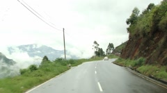 View from the moving car to the countryside road in Nuwara Eliya, Sri Lanka. Stock Footage
