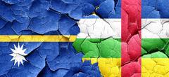 Nauru flag with Central African Republic flag on a grunge cracke Stock Illustration