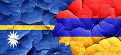 Nauru flag with Armenia flag on a grunge cracked wall Stock Illustration