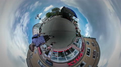 Tiny Little Planet 360 Degree People at Concert City Day Opole Crowd is Waiting Stock Footage