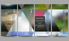 Set of modern flyers. Abstract multicolored background, blurred nature - stock illustration