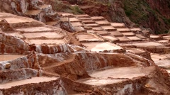 Salt evaporation pond, Maras, Peru Stock Footage