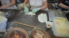 Baker unrolls dough - stock footage