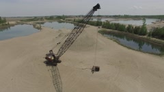 4k aerial great view of giant crane Stock Footage