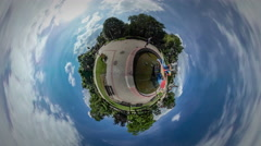 Tiny Little Planet 360 Degree Dad and Child Fountain City Day Opole Colorful Stock Footage