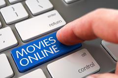 Hand Finger Press Movies Online Key - stock illustration