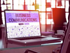 Business Communications on Laptop  Screen Stock Illustration
