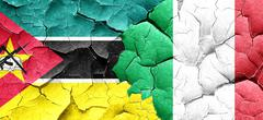 Mozambique flag with Italy flag on a grunge cracked wall Stock Illustration