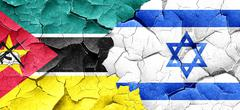 Mozambique flag with Israel flag on a grunge cracked wall Piirros