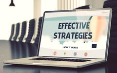 Effective Strategies on Laptop in Conference Room Stock Illustration