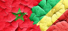 Morocco flag with congo flag on a grunge cracked wall Stock Illustration