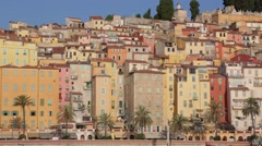 Menton, old city houses in the morning, French riviera, pan Stock Footage