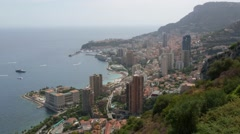 Monte Carlo, midday city view in a sunny day, Monaco, French riviera, pan Stock Footage