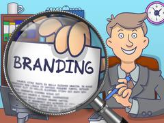 Branding through Magnifying Glass. Doodle Concept Stock Illustration