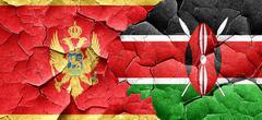 Montenegro flag with Kenya flag on a grunge cracked wall Stock Illustration