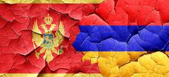 Montenegro flag with Armenia flag on a grunge cracked wall - stock illustration