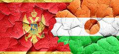Montenegro flag with Niger flag on a grunge cracked wall Stock Illustration