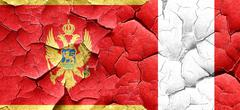 Montenegro flag with Peru flag on a grunge cracked wall Stock Illustration