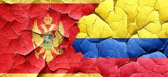 Montenegro flag with Colombia flag on a grunge cracked wall Stock Illustration