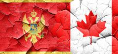 Montenegro flag with Canada flag on a grunge cracked wall Stock Illustration