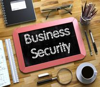 Business Security Handwritten on Small Chalkboard - stock illustration