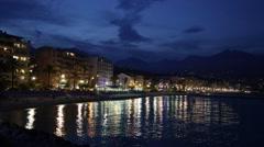 French riviera coast illuminated in a summer night, Cap Martin Stock Footage