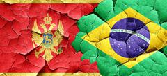 Montenegro flag with Brazil flag on a grunge cracked wall Stock Illustration