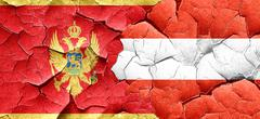 Montenegro flag with Austria flag on a grunge cracked wall Stock Illustration