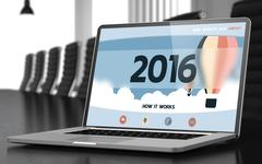 Laptop with 2016 in Meeting Room Stock Illustration