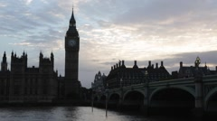 Big Ben and Palace of Westminster at dusk in London Stock Footage