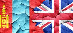 Mongolia flag with Great Britain flag on a grunge cracked wall - stock illustration