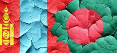 Mongolia flag with Bangladesh flag on a grunge cracked wall Stock Illustration