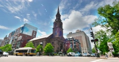 Arlington Street Church in Boston Establishing Shot Stock Footage