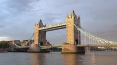 Tower bridge in London in the sunset light in London Stock Footage